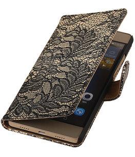 Hoesje voor Sony Xperia Z5 Compact - Lace Zwart Booktype Wallet
