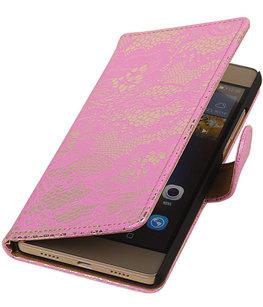 Hoesje voor Sony Xperia Z5 Compact - Lace Roze Booktype Wallet