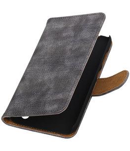 Hoesje voor Sony Xperia Z5 Compact - Mini Slang Grijs Booktype Wallet