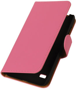 Roze Hoesje voor Huawei Ascend Y550 Book/Wallet Case/Cover