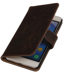 Mocca Pull-Up PU Hoesje voor Huawei Honor Y6 / 4A Booktype Wallet Cover