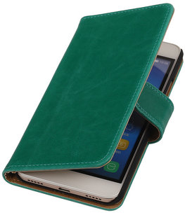 Groen Pull-Up PU Hoesje Huawei Honor Y6 Booktype Wallet Cover
