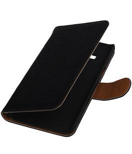 Zwart Echt Leer Booktype Hoesje voor Samsung Galaxy On5 Wallet Cover