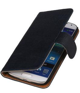 BestCases Navy Blue Echt Leer Booktype Hoesje voor Samsung Galaxy S Duos S7562