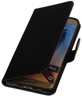 Zwart Smartphone TPU Booktype Hoesje voor Samsung Galaxy S6 Edge Plus Wallet Cover