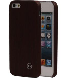 Donker Bruin Hout QY TPU Cover Case voor Hoesje voor Apple iPhone 5/5S