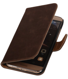 Mocca Pull-Up PU Hoesje voor Huawei G8 Booktype Wallet Cover