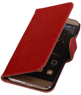 Rood Pull-Up PU Hoesje voor Huawei G8 Booktype Wallet Cover