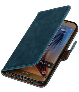 Blauw Pull-Up PU Hoesje voor Samsung Galaxy S6 Edge Plus Booktype Wallet Cover