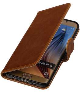 Bruin Pull-Up PU Hoesje voor Samsung Galaxy S6 Edge Plus Booktype Wallet Cover