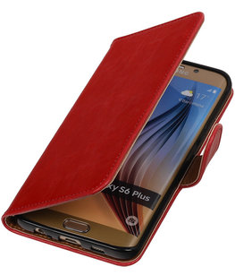 Rood Pull-Up PU Hoesje voor Samsung Galaxy S6 Edge Plus Booktype Wallet Cover
