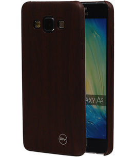 Donker Bruin Hout QY TPU Cover Case voor Hoesje voor Samsung Galaxy A5 2015