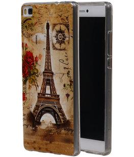 Eiffeltoren TPU Cover Case voor Hoesje voor Huawei P8