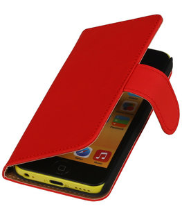 Rood Effen Booktype Hoesje voor Apple iPod Touch 4 Wallet Cover