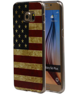 Amerikaanse Vlag TPU Cover Case voor Hoesje voor Samsung Galaxy S6 Edge Plus