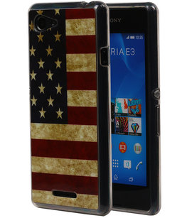 Amerikaanse Vlag TPU Cover Case voor Hoesje voor Sony Xperia E3