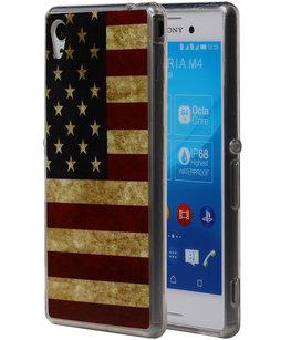 Amerikaanse Vlag TPU Cover Case voor Hoesje voor Sony Xperia M4 Aqua