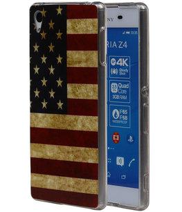 Amerikaanse Vlag TPU Cover Case voor Hoesje voor Sony Xperia Z4