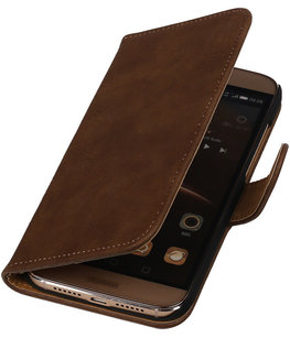 Bruin Bark Hout Booktype Hoesje voor Huawei G8 Wallet Cover