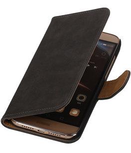 Grijs Bark Hout Booktype Hoesje voor Huawei G8 Wallet Cover