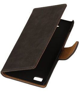 Grijs Bark Hout Booktype Hoesje voor Sony Xperia Z3 Compact Wallet Cover