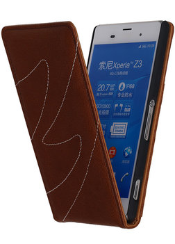 Bruin Classic Echt Leer Map Flip voor Hoesje voor Samsung Galaxy A5 2015