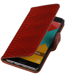Rood Slang Booktype Hoesje voor Samsung Galaxy A5 2016 Wallet Cover