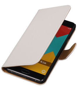 Wit Effen Booktype Hoesje voor Samsung Galaxy A5 2016 Wallet Cover