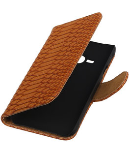 Hoesje voor Apple iPhone 4/4s - Slang Bruin Bookstyle Wallet