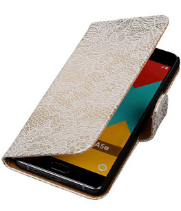 Wit Lace Booktype Hoesje voor Samsung Galaxy A5 2016 Wallet Cover