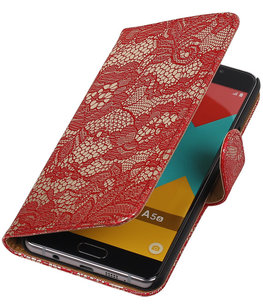 Rood Lace Booktype Hoesje voor Samsung Galaxy A5 2016 Wallet Cover