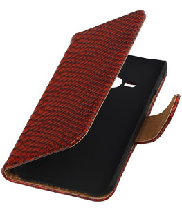 Hoesje voor Apple iPhone 4/4s - Slang Rood Bookstyle Wallet