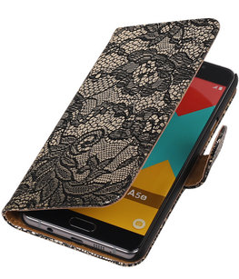 Zwart Lace Booktype Hoesje voor Samsung Galaxy A5 2016 Wallet Cover