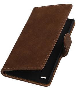Hoesje voor Sony Xperia C4 Bark Hout Booktype Wallet Bruin