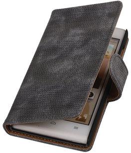 Hoesje voor Huawei Ascend G6 4G - Mini Slang Grijs Booktype Wallet