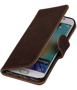 Mocca Pull-Up PU Hoesje voor Samsung Galaxy S6 Edge Booktype Wallet Cover