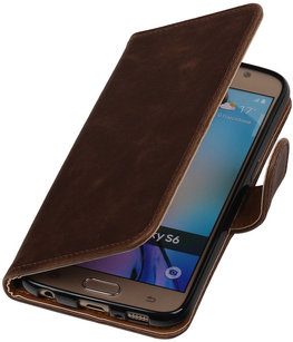 Mocca Pull-Up PU Hoesje voor Samsung Galaxy S6 Booktype Wallet Cover