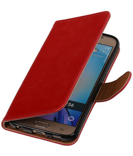 Rood Pull-Up PU Hoesje voor Samsung Galaxy S6 Booktype Wallet Cover