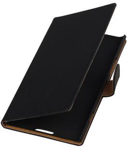 Zwart Effen Booktype Hoesje voor Nokia Lumia 1520 Wallet Cover
