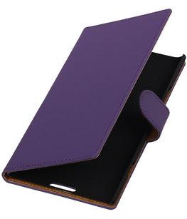 Paars Effen Booktype Hoesje voor Nokia Lumia 1520 Wallet Cover