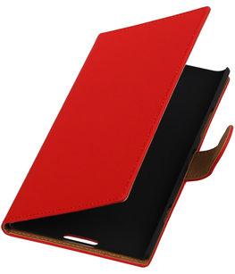 Rood Effen Booktype Hoesje voor Nokia Lumia 1520 Wallet Cover