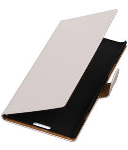 Wit Effen Booktype Hoesje voor Nokia Lumia 1520 Wallet Cover