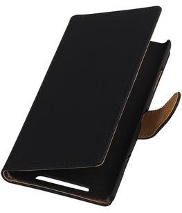Zwart Effen Booktype Hoesje voor Nokia Lumia 620 Wallet Cover