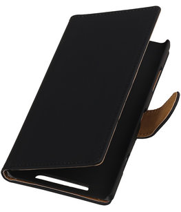Zwart Effen Booktype Hoesje voor Nokia Lumia 720 Wallet Cover