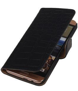 Hoesje voor HTC One SV - Krokodil Zwart Booktype Wallet