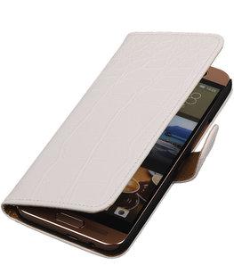 Hoesje voor HTC One SV - Krokodil Wit Booktype Wallet