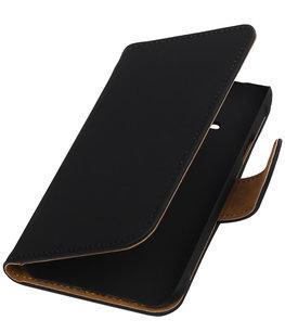 Zwart Effen Booktype Hoesje voor Samsung Galaxy Core Advance i8580 Wallet Cover