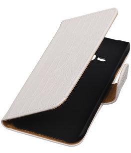 Wit Krokodil Booktype Hoesje voor Samsung Galaxy Core Advance i8580 Wallet Cover