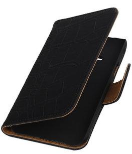 Zwart Krokodil Booktype Hoesje voor Samsung Galaxy Core Advance i8580 Wallet Cover