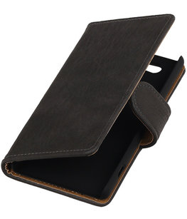Hoesje voor Sony Xperia Z4 Compact Bark Hout Bookstyle Wallet Grijs